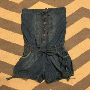 Pants - Strapless Blue jean Romper w/buttoned up front
